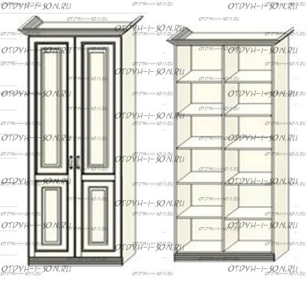 Шкаф 2-дверный для белья Ферсия, мод. 23(Б) МДФ без пилястр