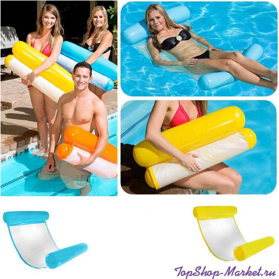 Надувной шезлонг для плавания Floating Bed, 130х73 см, Цвет: Жёлтый