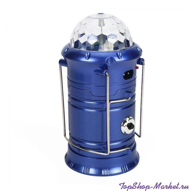 Складной кемпинговый фонарь с диско-шаром 4 в 1, 19 см, Цвет: Синий