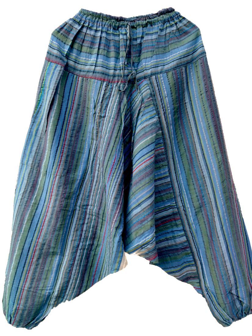 Серо-голубые полосатые мужские штаны алладины (СПб)