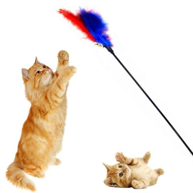 Игрушка Для Кошек Дразнилка С Перьями И Бубенчиком, 60 См
