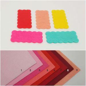"""Фетровые пяточки прямоугольные """"волна"""" 35*70мм, цвет № 01 светло-розовый (1уп = 96шт)"""