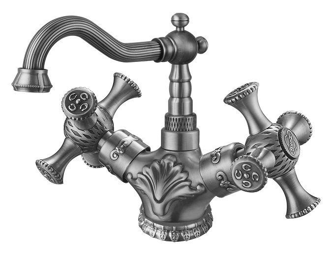 Двухрычажный смеситель для раковины (умывальника) ZorG Antic A 7009U-SL