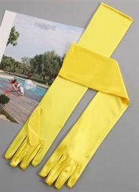 Перчатки вечерние атласные длинные желтые