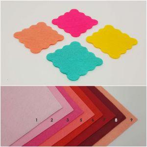 """Фетровые пяточки квадратные """"волна"""" 45мм, цвет № 03 ярко-розовый (1уп = 108шт)"""