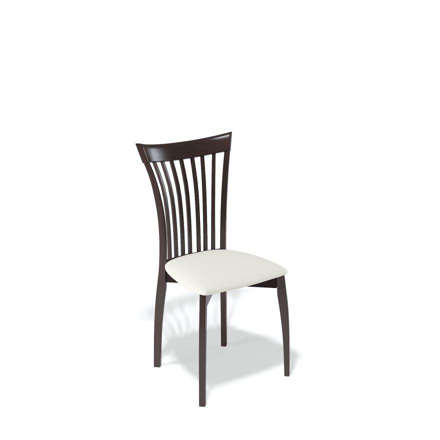 Деревянный стул KENNER 102М, с мягким сиденьем, цвет венге - белый