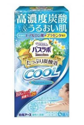 Hakugen Earth HERS Bath labo Premium Cool Соль для ванны освежающая с охлаждающим эффектом, углекислым газом с гиалуроновой кислотой Аромат Мяты, ананаса, плюмерии и вербены 6 таблеток