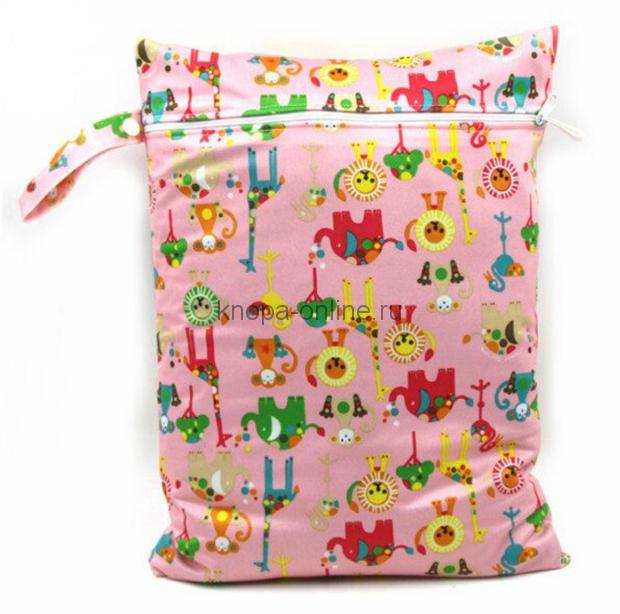 Непромокаемая сумочка - зверята на розовом