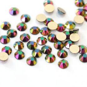 Стразы термоклеевые (стекло) ss-20 перламутровые зеленые (25гр)