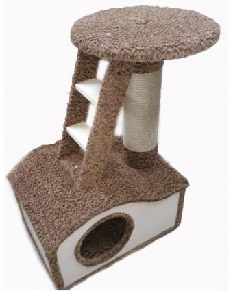 Домик для кошки Эксклюзив 2 искусственный мех, веревка джут