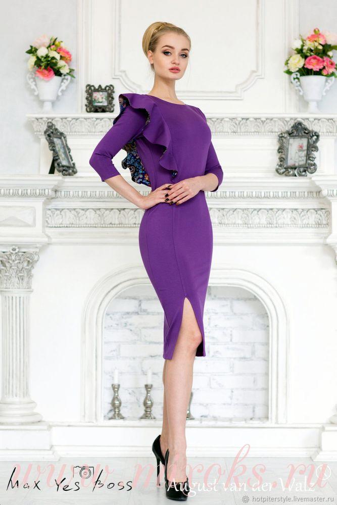Платье с воланом на плече