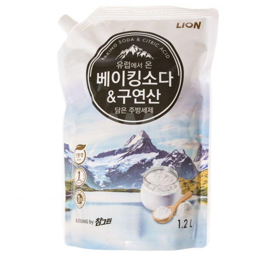 Средство для мытья посуды овощей и фруктов CHAMGREEN с содо и лимонной кислотой, мягкая упаковка, 1200 мл (CJ LION)