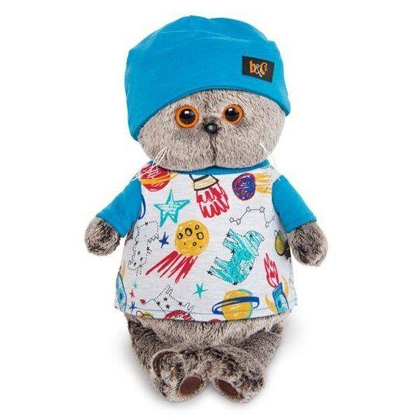 Кот Басик в футболке космос и в шапочке Ks30-091