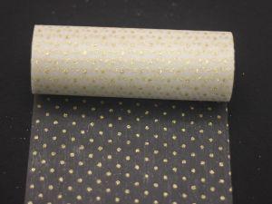 Фатин с люрексом, средняя жесткость, ширина 15 см, бобина 10 ярдов, цвет: Q03 золото