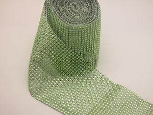 "Лента декоративная ""имитация страз"", ширина 12 см, длина 10 ярдов, цвет: 11 зеленое яблоко"