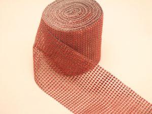 """Лента декоративная """"имитация страз"""", ширина 12 см, длина 10 ярдов, цвет: 33 красный"""