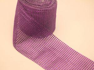 """Лента декоративная """"имитация страз"""", ширина 12 см, длина 10 ярдов, цвет: 23-1 фиолетовый"""