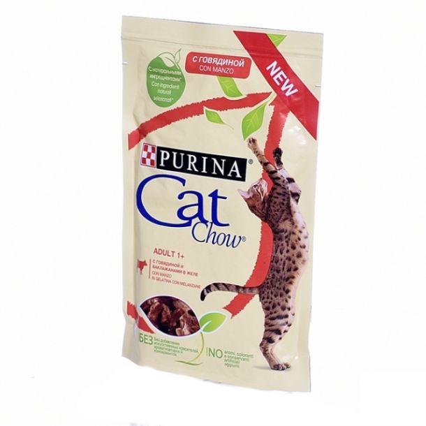 """Purina Cat Chow паучи для кошек """"Кусочки в желе с говядиной и баклажанами"""" 85гр"""