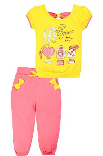 Костюм для девочек 1-4 лет Bonito желтый, розовый