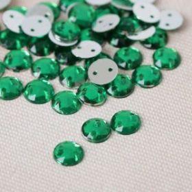 Стразы пришивные, d=8мм, 50шт, круглые, цвет зелёный