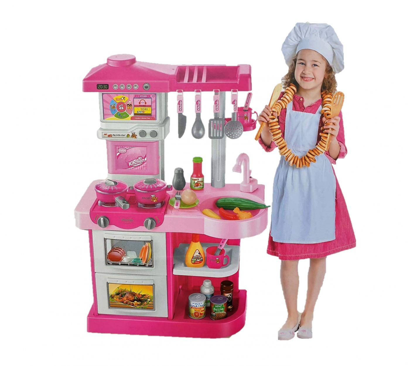 WD-P16 Детская кухня игровая интерактивная с пультом, водой, большой мойкой, высота 75 см.