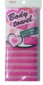 AISEN Массажная мочалка средней жесткости, розовая в полоску, 28х100 см