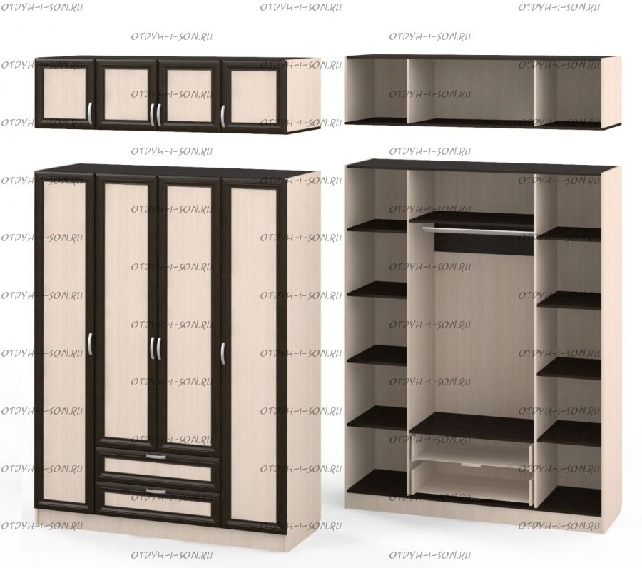 Шкаф четырехдверный Рома 4.2 + А