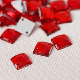 Стразы пришивные, 8*8мм, 50шт, квадратные, цвет красный