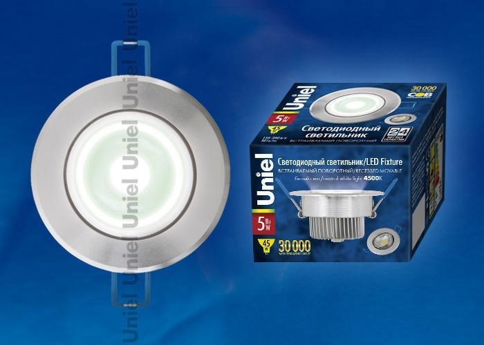 Встраиваемый светодиодный светильник (07600) Uniel ULM-R31-5W/NW IP20 Silver