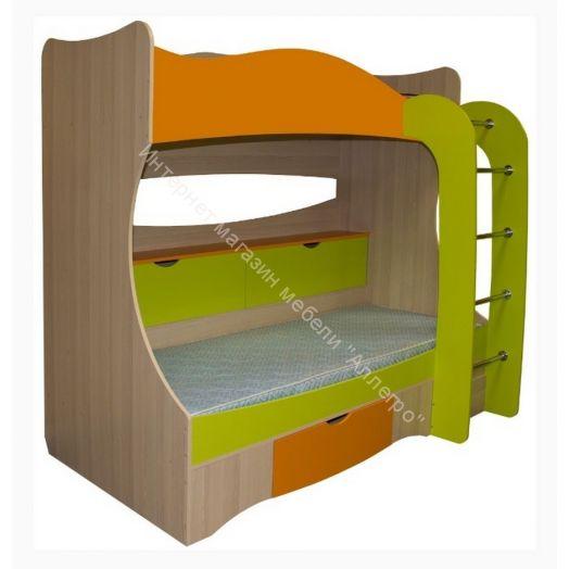"""Кровать двухъярусная (цветные фасады)  """"Почемучка"""""""
