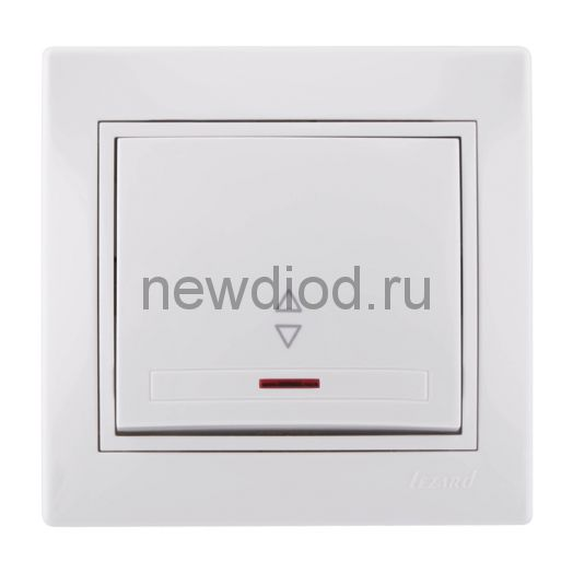 MIRA Выключатель одноклавишный проходной с подсветкой белый с белой вставкой Lezard