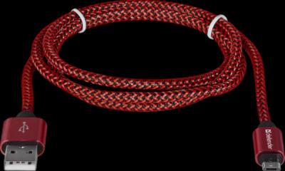 USB кабель USB08-03T PRO USB2.0 Красный, AM-MicroBM, 1m, 2.1A