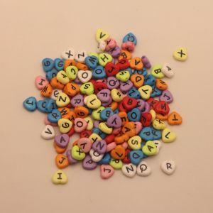 "Бусины с буквами 12*11 мм, толщина 4мм, ""Латинский алфавит"", цвет МИКС (1уп = 20шт), Арт. БС1113-20"