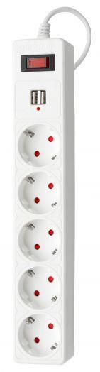 Сетевой удлинитель c USB (фильтр) Smartbuy One, 10А, 2 200 Вт, 5 розеток, длина 3,0 м, белый