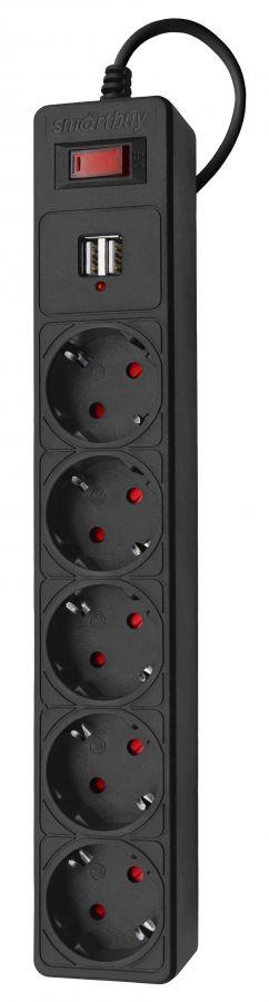 Сетевой удлинитель c USB (фильтр) Smartbuy One, 10А, 2 200 Вт, 5 розеток, длина 3,0 м, черный