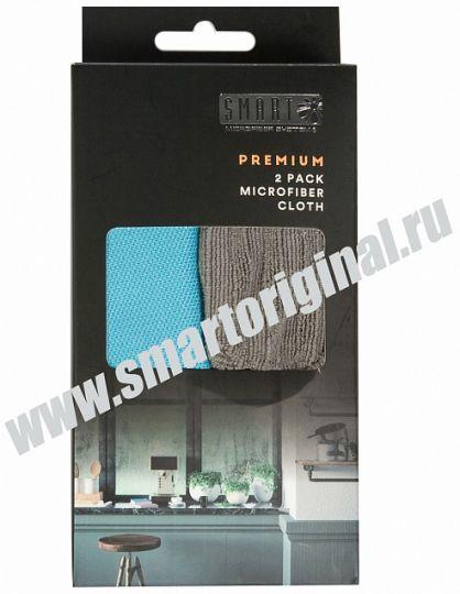 Smart Microfiber Комплект салфеток Премиум 2 шт 32 х 31 см бирюза, серые серия Premium