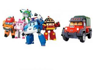 Команда из 6-ти трансформеров Робокар поли (Рой, Поли, Эмбер, Хэлли, Марк, Почер)