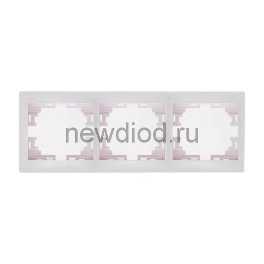 MIRA Рамка 3-ая горизонтальная без вставки белая Lezard