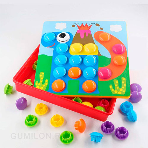 Развивающая мозаика-пуговки Button Idea 12 картинок, 46 букв