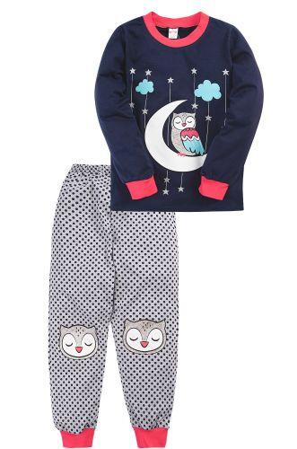 Пижама для девочки 3-7 лет Bonito BK976PJ синий, совёнок