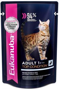 EUK Cat паучи корм для взрослых кошек с кроликом в соусе 85 гр.