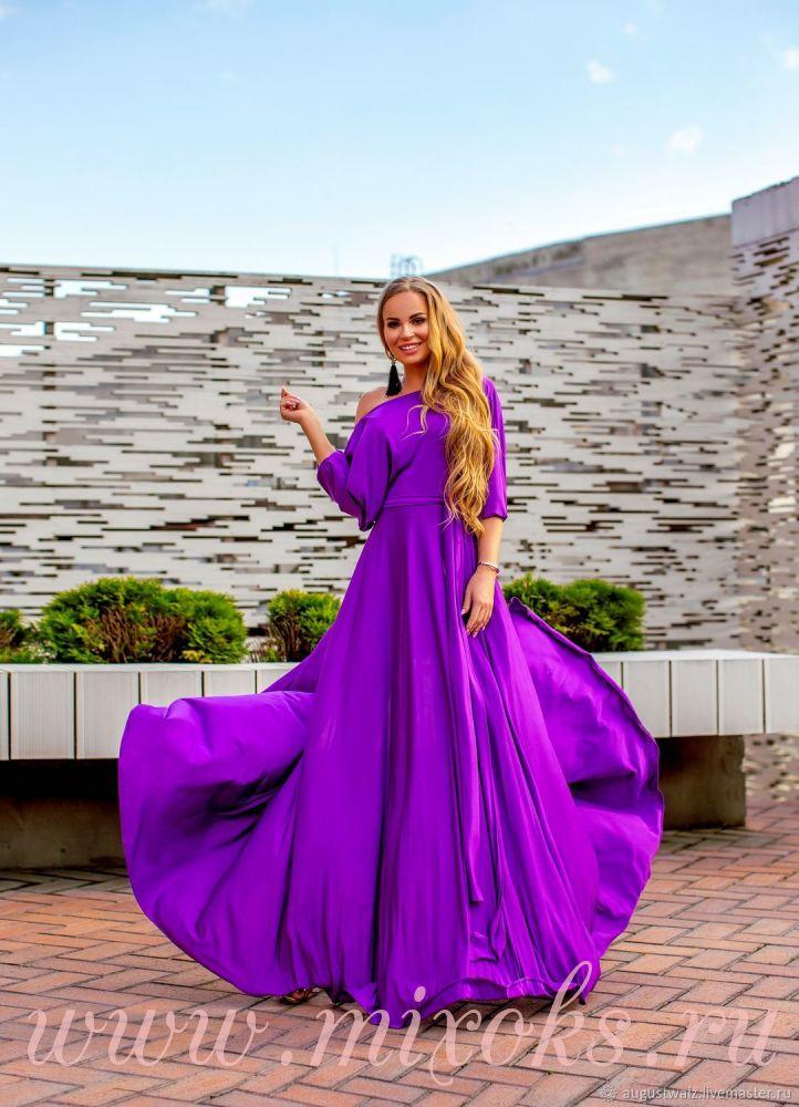 Фиолетовое платье с запахом
