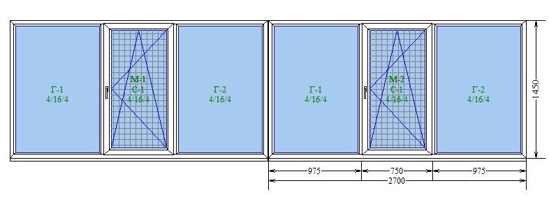 Двойная Лоджия под ключ (2 открывания)