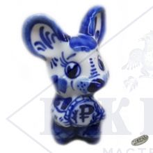 Гжель Символ Года 2020 ОПТОМ - Денежная мышка 8,5х5,5х4см