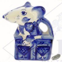 Гжель Символ Года 2020 ОПТОМ - Крыса в сумке 11,5х9х5,5