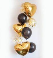 Фонтан из шаров сердец золотых ГОЛД