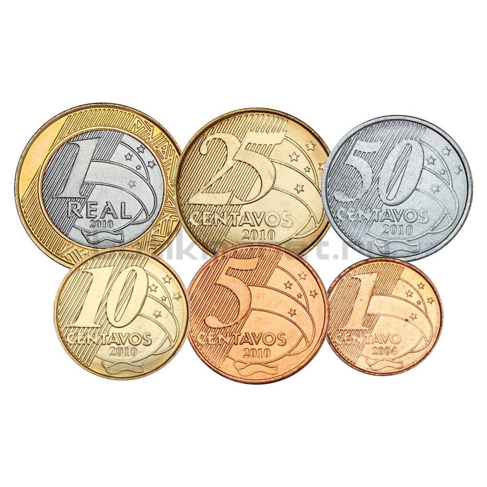 Набор монет 2004-2010 Бразилия (6 штук)