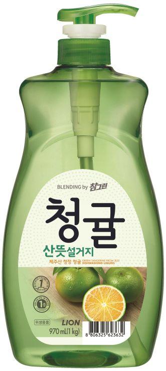 CJ Lion Средство для мытья посуды Chamgreen Зелёный цитрус флакон 965 мл