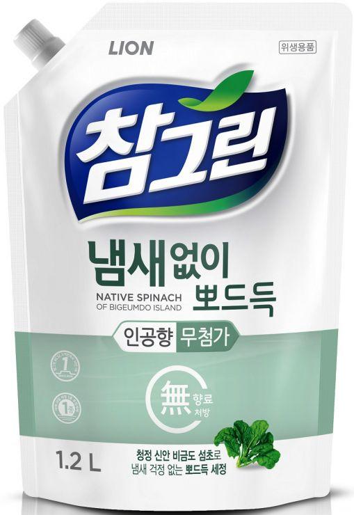 CJ Lion Средство для мытья посуды Chamgreen Свежий шпинат мягкая упаковка 1200 мл