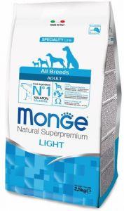 Monge Dog Speciality Light корм для собак всех пород низкокалорийный лосось с рисом 2,5 кг.
